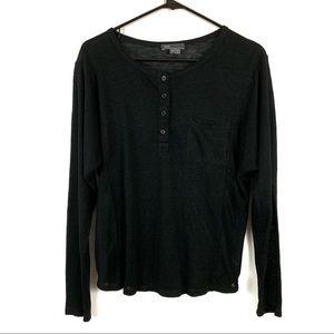 Vince Linen Medium Black Henley Shirt